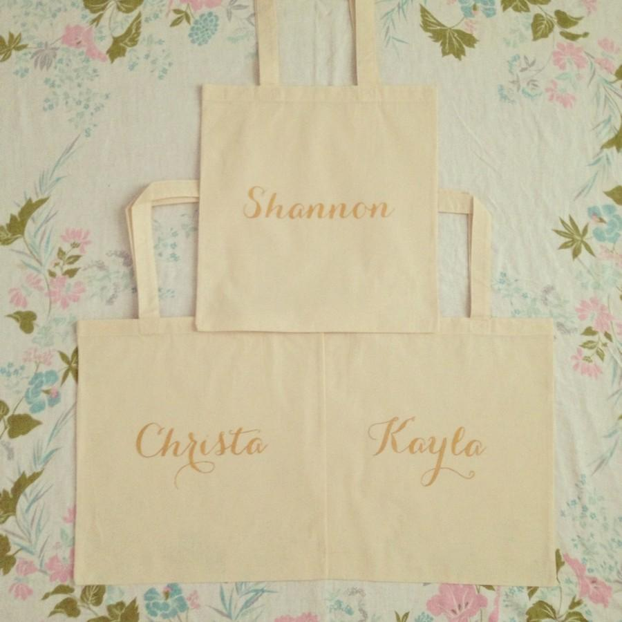 Mariage - Custom Personalize Name Bridesmaid Tote Gift Bag Cotton Canvas Bridal - Gold Glitter Ink