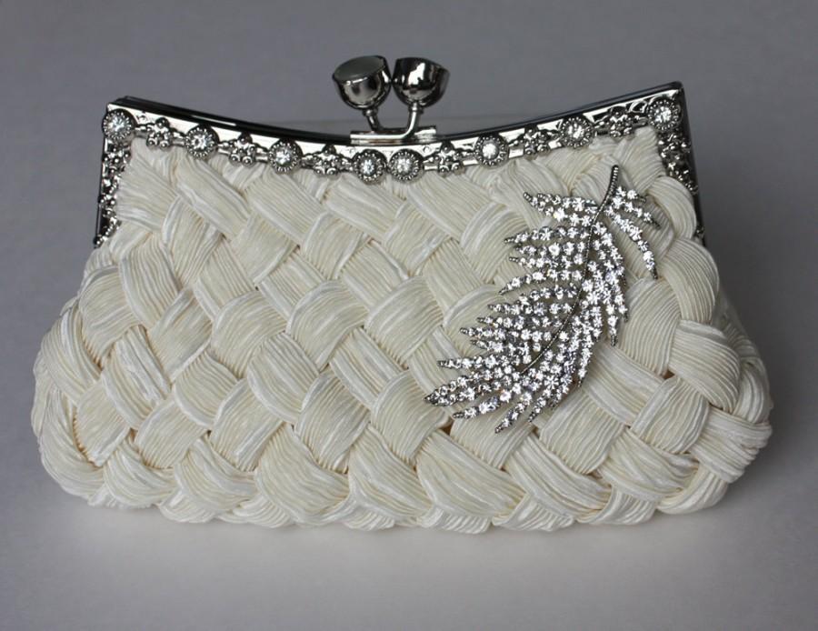 Mariage - Bridal Clutch - Ivory satin with Swarovski Crystal feather brooch - bridal handbag - bridal purse - made to order