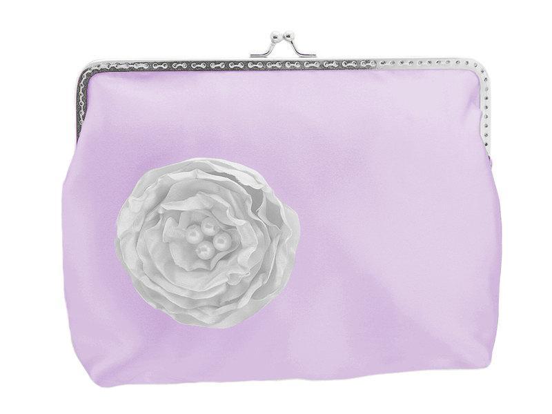 Mariage - purple satin bridal handbag, frame clutch bag, womens purse, evening clutch, clutch small bag, party clutch, womens clutch purse 1485-4
