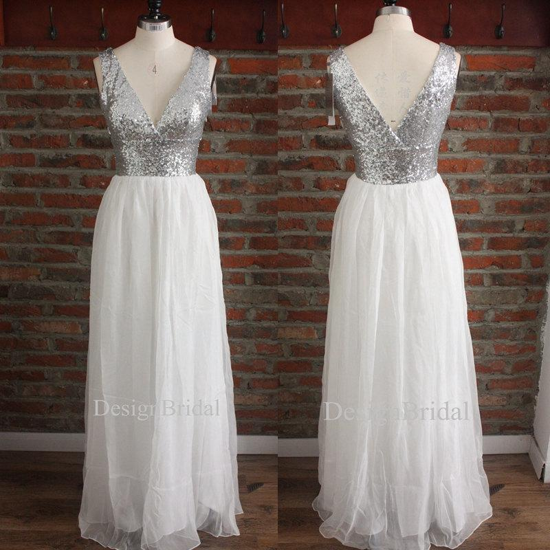 Long Bridesmaid Dress Double V Neck Sequin Chiffon Prom Silver White Party Little Y Weddings