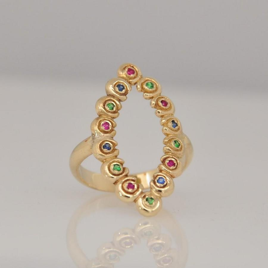 Mariage - Engagement Ring , Unique Engagement Ring , Alternative Engagement Ring , Fine Jewelry Ring , 14k Gold Ring ,  Ruby Ring , Sapphire Ring