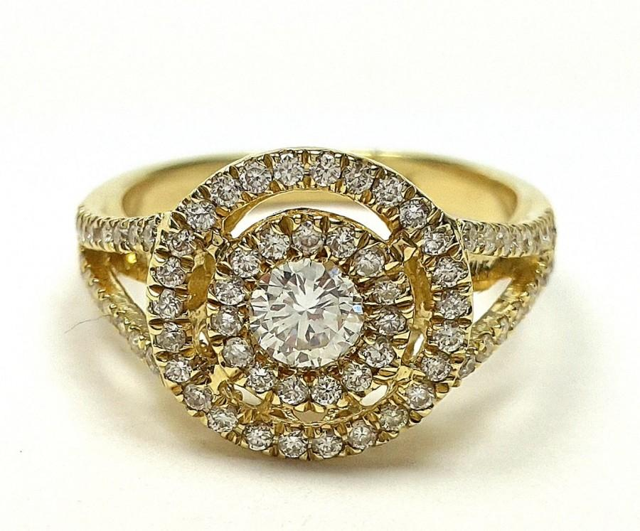 Halo Setting Engagement Ring Antique Ring Double Band Ring Round
