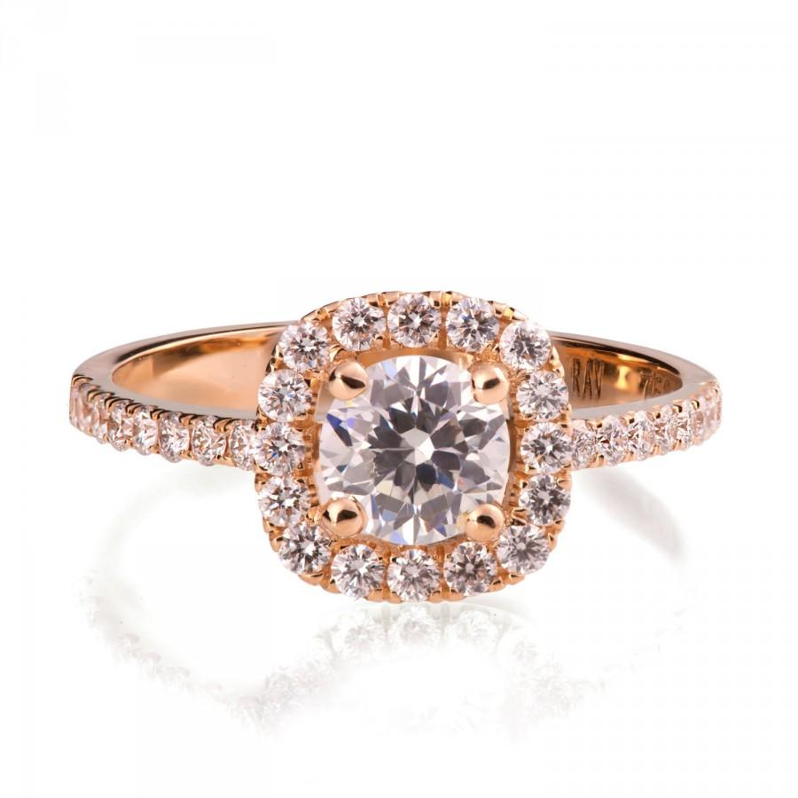 Rose Gold Engagement Ring - 18K Rose Gold And Diamond ...
