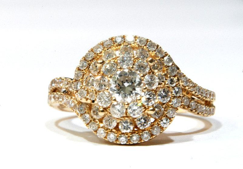 Unique Engagement Ring 14k Yellow Gold Double Band With Natural