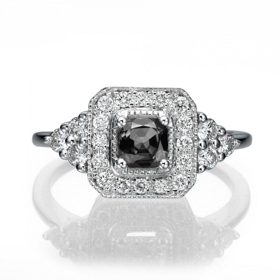 Art Deco Black Diamond Ring 18K White Gold Ring Halo Engagement Ring 0 84