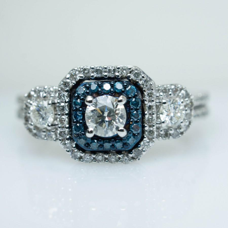 3 stone blue diamond square halo engagement ring 10k white