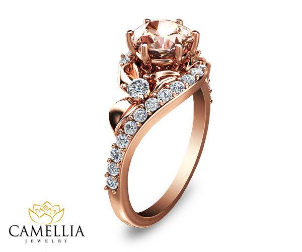 Hochzeit - 14K Rose Gold Morganite Ring,Gemstone Engagement ring,Leaf Ring,Wedding Ring,Promise Ring,Ladys Jewelry,Unique Engagment Ring.