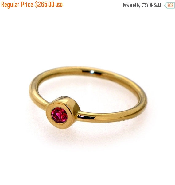 Hochzeit - Black Friday SALE - DeLight  Ruby Engagement Ring, Ruby Ring, Stacking Ring, Thin Gold ring, Gemstone Ring, 14k Solid Gold Ring, Made to Ord