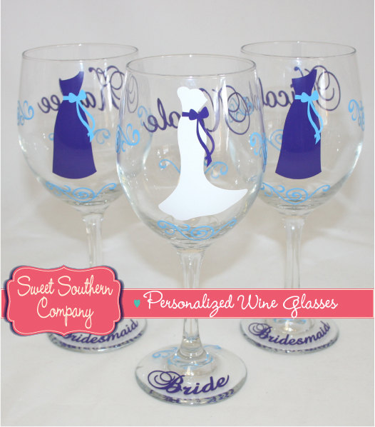 Mariage - 6 Personalized Bride and Bridesmaid Wine Glasses