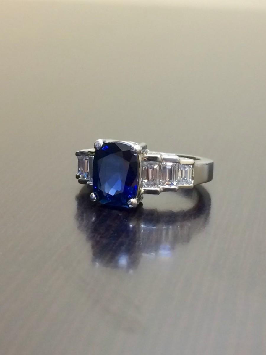 زفاف - Art Deco Platinum Ceylon Sapphire Diamond Engagement Ring - Platinum Blue Sapphire Diamond Wedding Ring - Art Deco Ring - Sapphire Ring