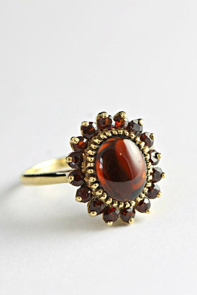 زفاف - 1940's garnet ring in 9 carat gold vintage 40's statement ring for her
