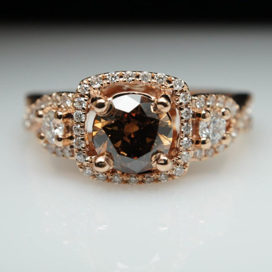 129ct Fancy Brown Diamond Three Stone Rose Gold Engagement Ring  Size 6   Free Sizing  Layaway Available