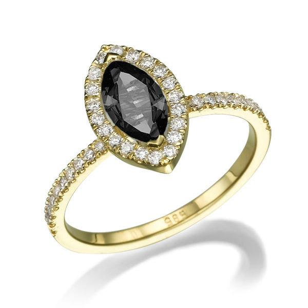 Hochzeit - Black Diamond Engagement Ring, 14K Gold Ring, Cushion Halo Ring, 0.8 TCW Black Diamond Ring, Marquise Diamond Ring