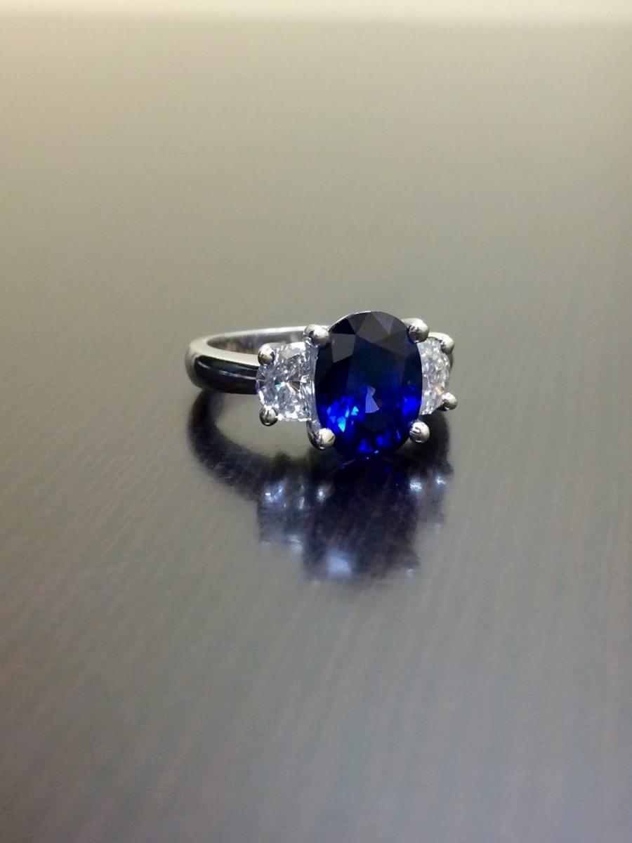 Hochzeit - Ceylon Blue Sapphire Platinum Diamond Wedding Ring - Art Deco Platinum Blue Sapphire Diamond Engagement Ring - Sapphire Ring - Platinum Ring