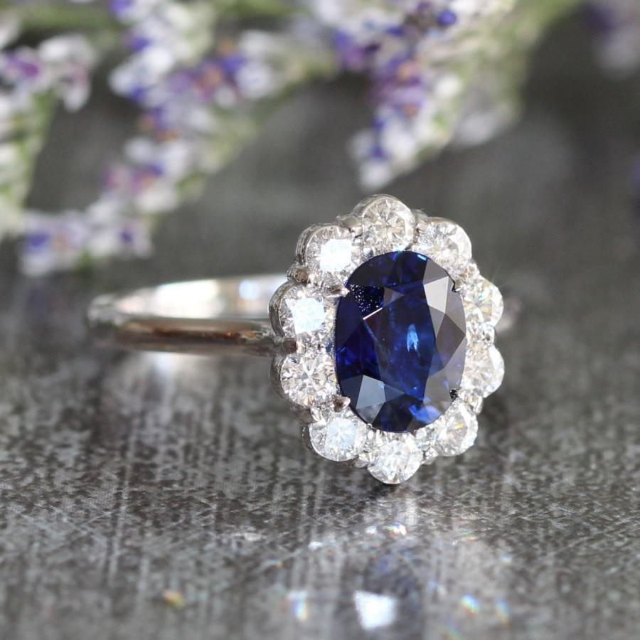 Hochzeit - Diana Diamond and Sapphire Engagement Ring Halo Diamond Wedding Ring in 14k White Gold 8x6mm Oval Sapphire Ring (Wedding Set Available)