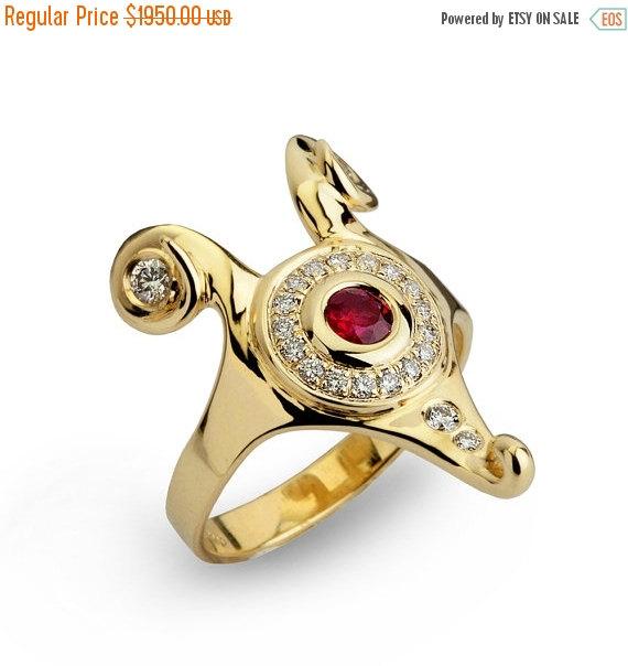 Hochzeit - Black Friday SALE - HATHOR Diamond Ruby Ring, Gold Ruby ring, Unique Engagement Ring, Egyptian Jewelry, Ruby Engagement Ring, Diamond Ring 1