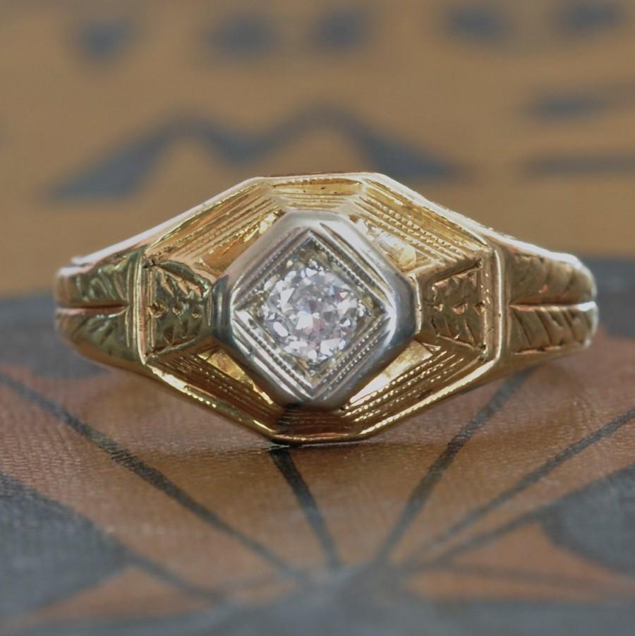 زفاف - Art Deco Engagement Ring - 1920s Diamond Engagement Ring - Vintage Wedding Ring - Unique Engagement Ring - Deco Diamond Ring-Right Hand Ring