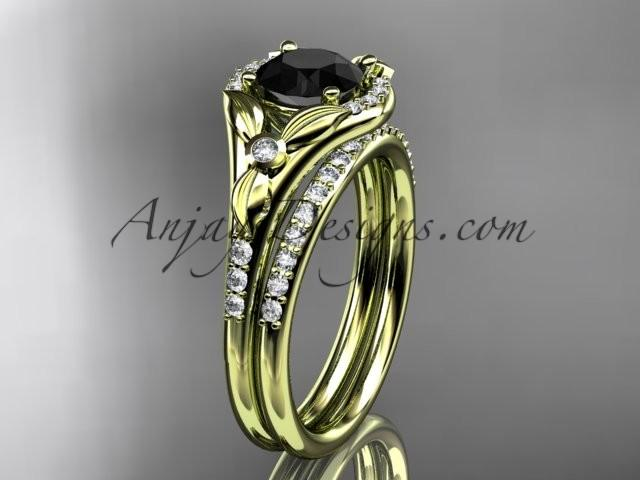 Wedding - 14kt yellow gold diamond floral wedding ring, engagement set with a Black Diamond center stone ADLR126S