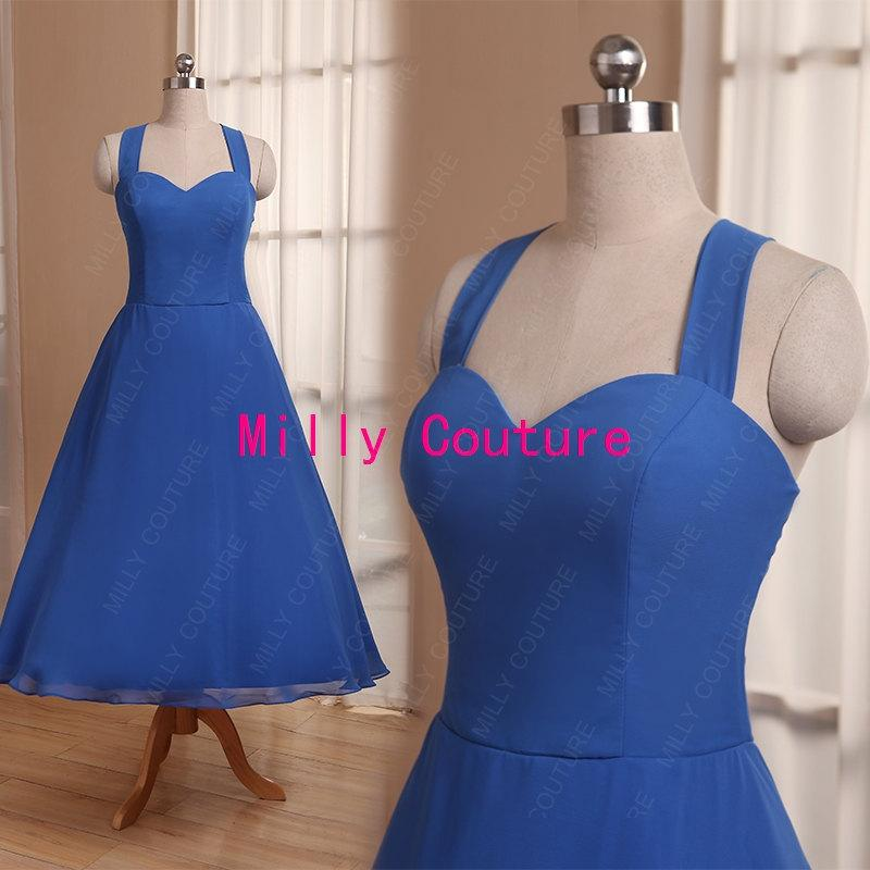 Vintage Dresses Blue Wedding: Royal Blue Halter Chiffon Bridesmaid Dress Tea Length