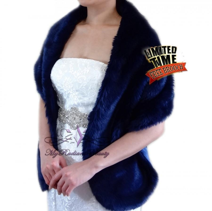 "Hochzeit - Faux Fur Stole, Bridal Navy Blue Faux Fur Long Wrap, Bridal Fur Shrug, Wedding Fur Stole, Bridal Fur Wrap, Bridal Stole 62"" In LW108-NBlue"