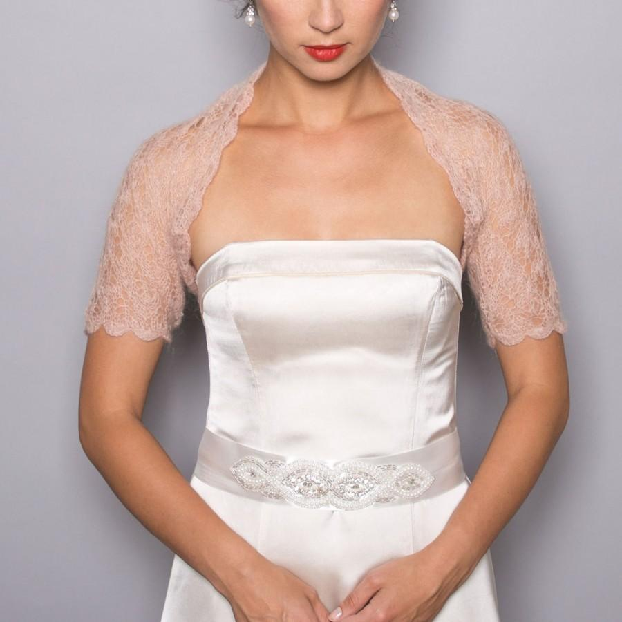 Sale bridal shrug wedding bolero in beige color lace for Wedding dress lace bolero