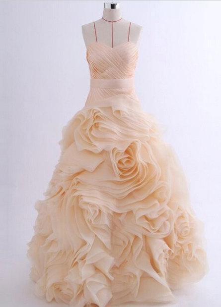 زفاف - Organza Rose Sweetheart Ball Gown Corset Back Wedding Dress