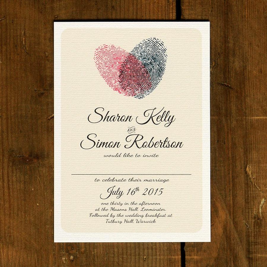 Fingerprint Heart Wedding Invitation Set On Luxury Card Modern
