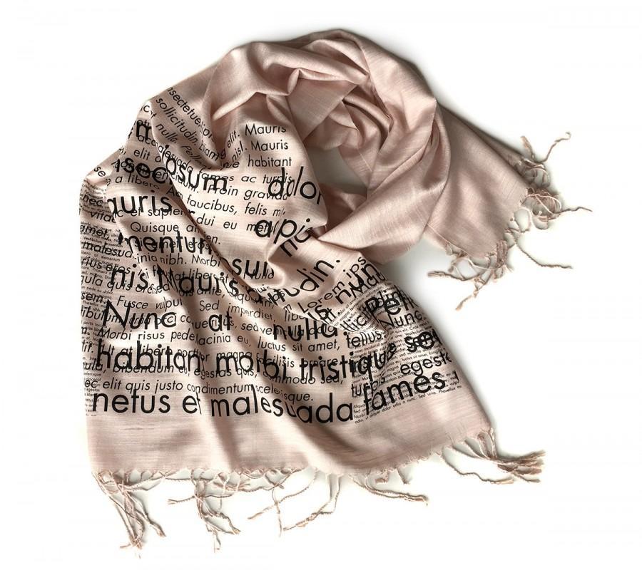 Mariage - Book Scarf. Lorem Ipsum scarf. Cicero placeholder text. Silkscreen linen weave pashmina. Graphic designer, art director, literary gift.