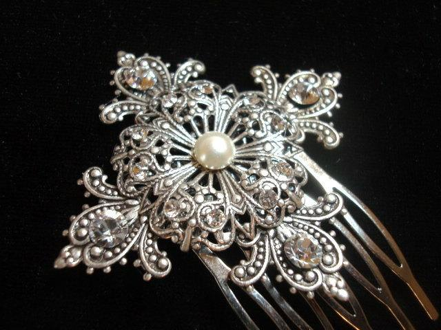 Mariage - Vintage style hair comb, bridal hair comb, antique silver with Swarovski ivory pearl and Swarovski crystals, wedding hair, fascinator