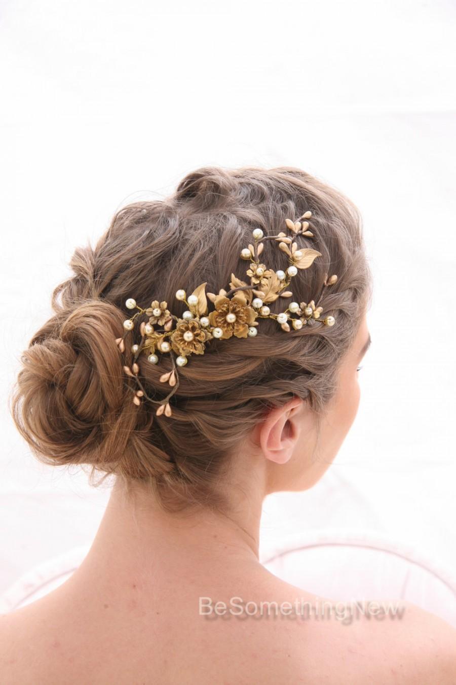 Mariage - Bridal Decorative Comb Rustic Gold and Bronze Wedding Hair Comb, Golden Wedding Headpiece Brassy Boho Wedding Hair Comb Gold Metal Comb