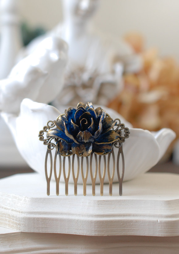Hochzeit - Gold Tipped Navy Dark Blue Rose Hair Comb. Antiqued Brass Filigree Hair Comb. Vintage Inspired Wedding Bridal Hair Comb