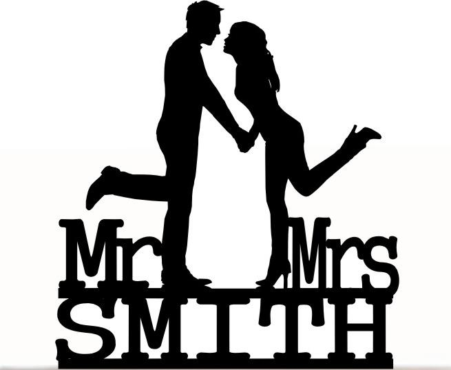 Wedding - Wedding Cake Topper Mr and Mrs Groom and Bride With Last Name Personalized. Removable Spikes and Free Base For Display. Shelf Display
