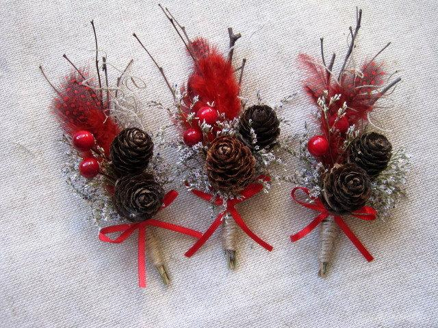Wedding - Woodland winter  with red and pine cone , feather boutonniere red wedding groom buttonhole wedding pin rustic wedding fathers lapel set -6