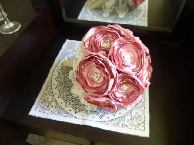 Mariage - Fabric Flower Bouquet, Pink Poppy Bouquet, Silk Poppy Bouquet, Pink Wedding Bouquet, Pink Fabric Flower Bouquet, Fabric Wedding Bouquet