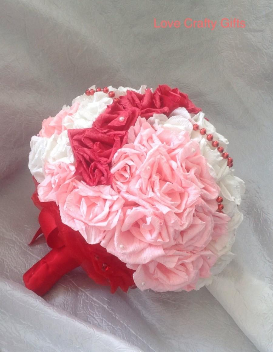Paper wedding bouquet crepe paper bouquet paper roses wedding paper wedding bouquet crepe paper bouquet paper roses wedding bouquet red light pink and white with beads extra large dhlflorist Choice Image