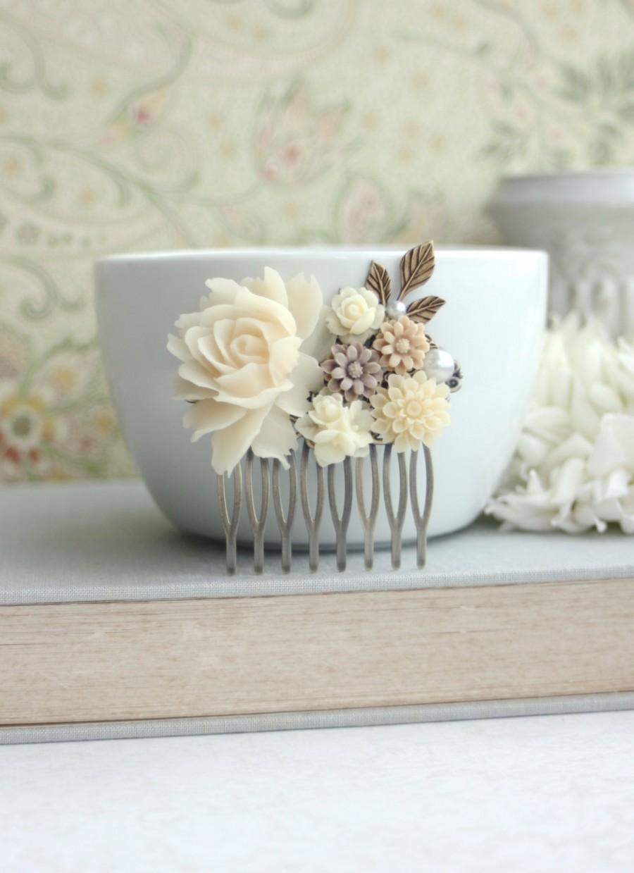 Mariage - Shades of Ivory and Brown Flowers, Brass Leaf Filigree Flower Collage Hair Wedding Comb. Bridesmaids Comb, Woodland Country Nature Wedding