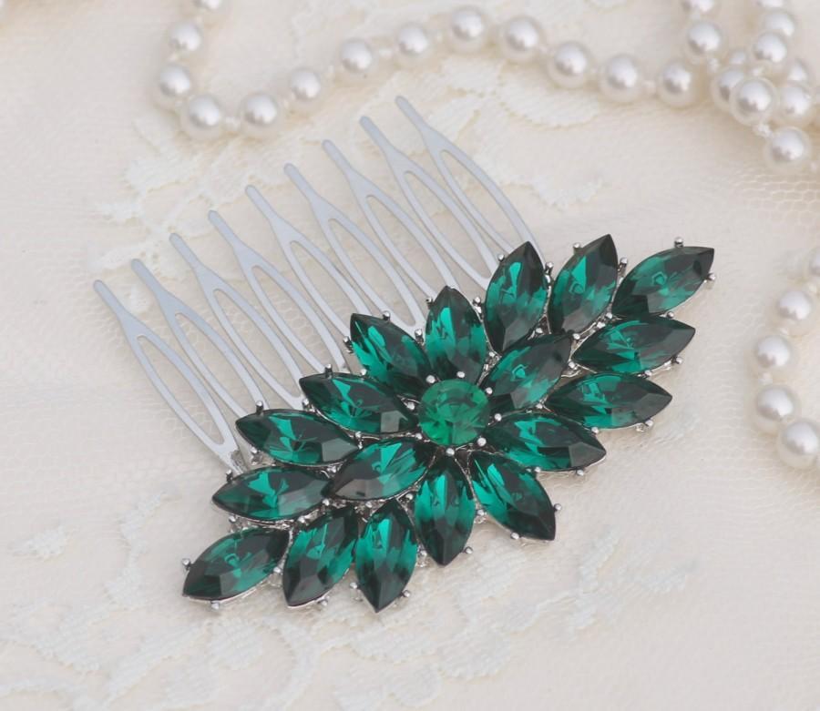 Hochzeit - Art Deco Emerald Green Rhinestone Hair Comb,Silver Large Brooch Hair Comb,Emerald Green Crystal Pave Bridal Comb,Bridal Headpiece,Weddings