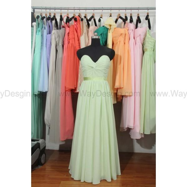 Wedding - Sage Bridemaid Dress, Mint Green Sweetheart Long Chiffon Bridesmaid Dress