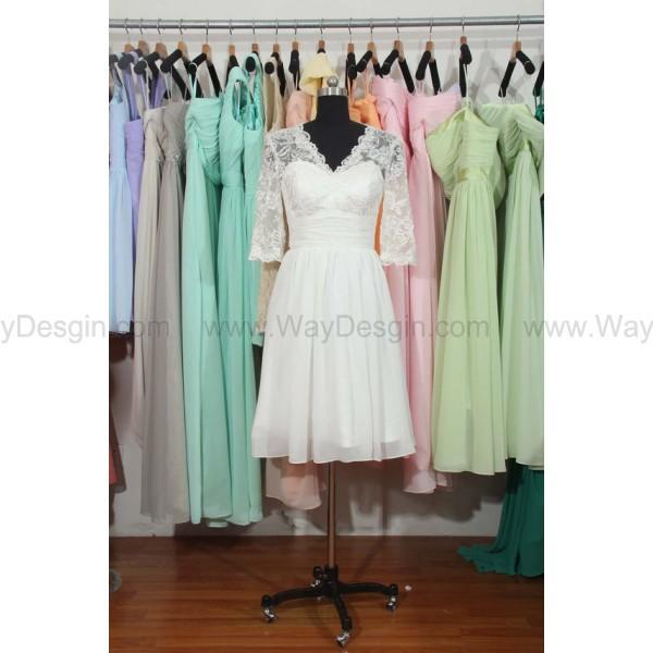 Wedding - Lace & Chiffon Short Bridesmaid Dress, Long Lace Sleeves V-neck Dress