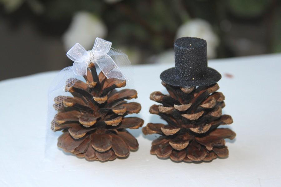 Mariage - Mr and Mrs Pinecones, Wedding cake topper, pinecones toppers, Wedding toppers, Rustic toppers, Woodland toppers, Pinecones wedding, aspen