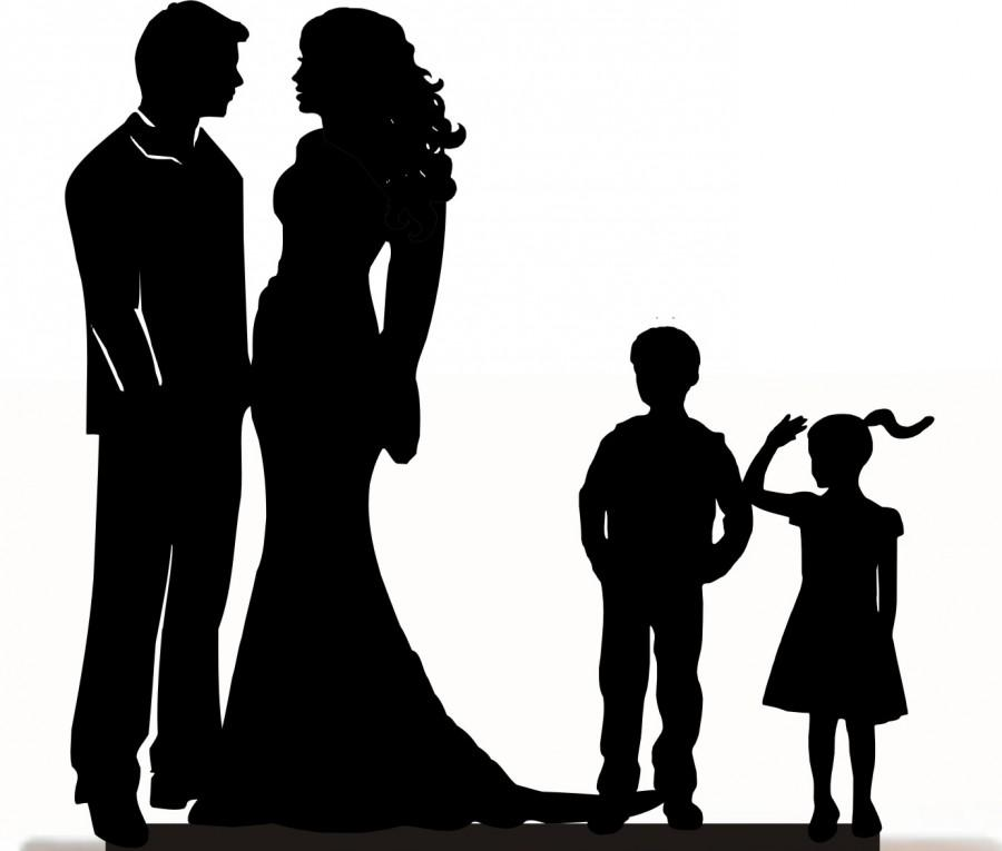 Hochzeit - Custom Wedding Cake Topper , Couple Silhouette and any kid silhouette of your choise UP to 3 kids with free base for display.after the event