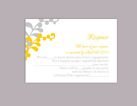 DIY Wedding RSVP Template Editable Text Word File Download – Rsvp Card Template Word