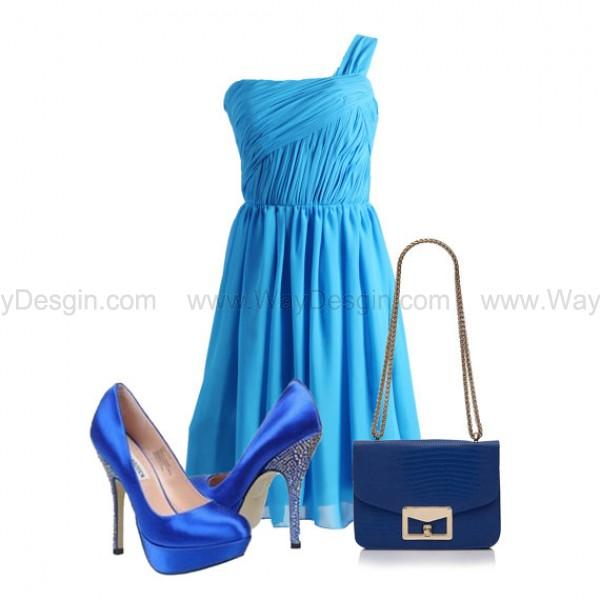 Wedding - Ocean Blue One Shoulder Chiffon Bridesmaid Dress/Prom Dress Knee Length Short Dress