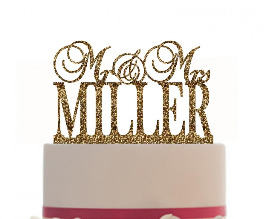 Wedding - Personalized Mr and Mrs Custom Wedding Cake Topper with your last name, Choice of color and FREE base for display