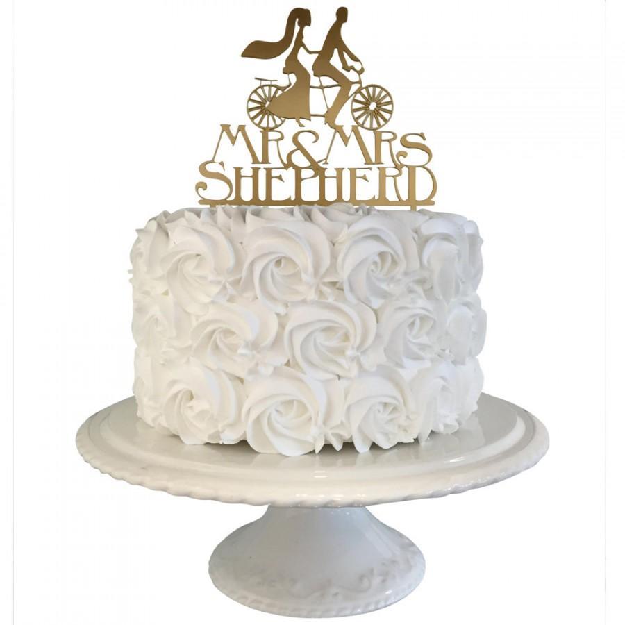Bride And Groom Tandem Bike Personalised Surname Wedding Cake Topper