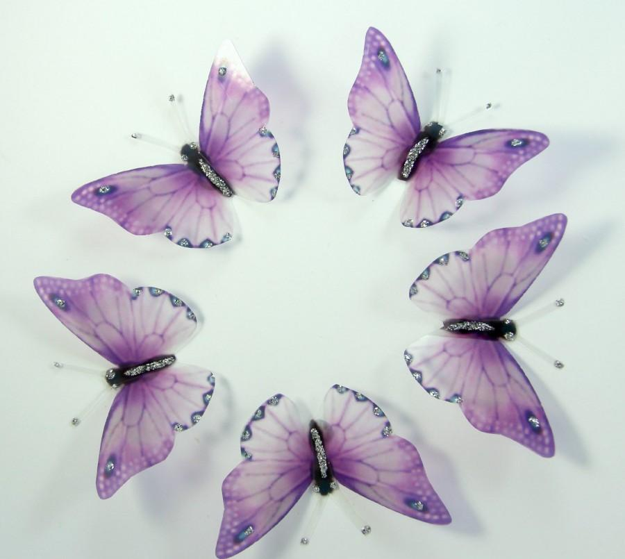Hochzeit - 20 Lilac Purple Stick on Butterflies, Wedding Cake Toppers, 3D Wall Art, Scrapbooking, Wall Decals