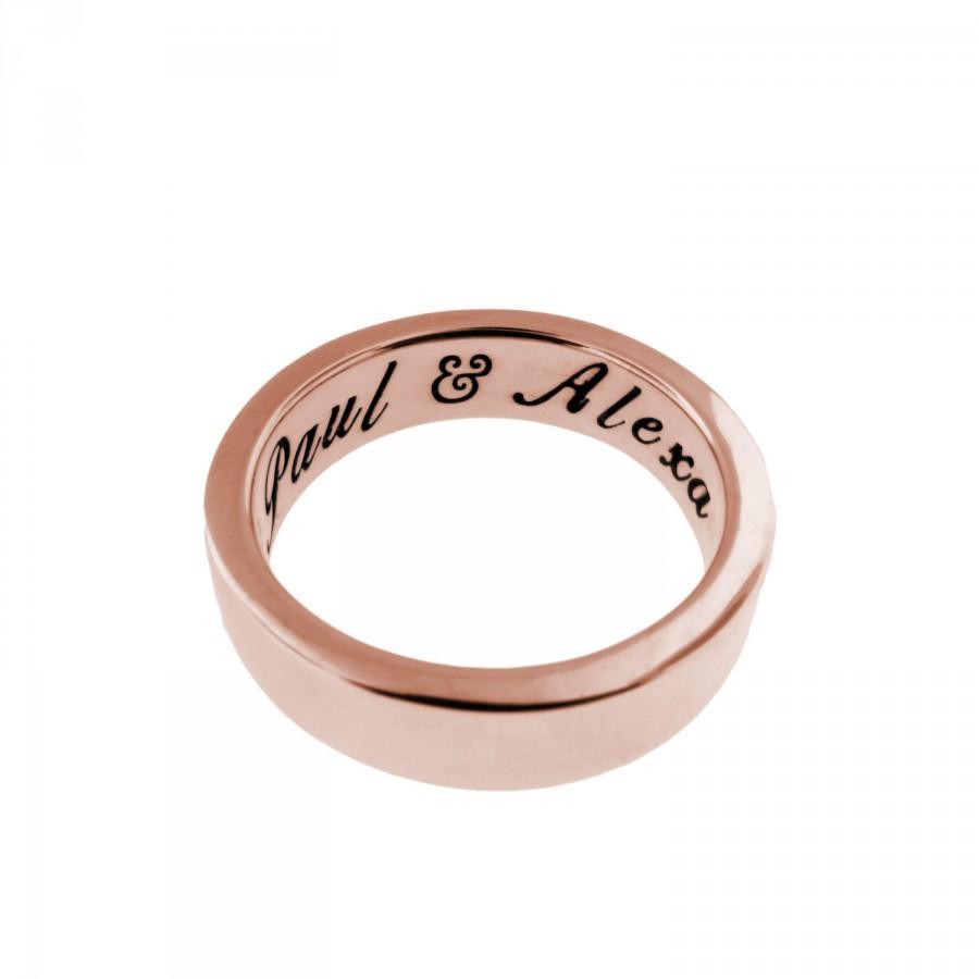 زفاف - 14K Solid Rose Gold Ring - Personalized Band