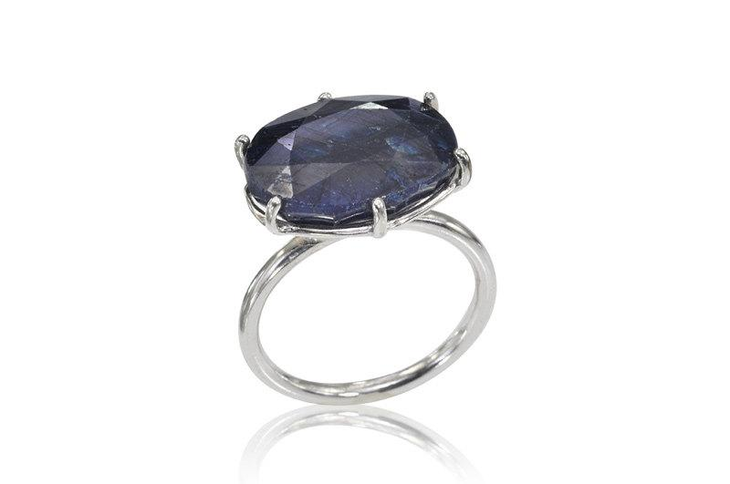 Wedding - Sapphire Engagement Ring, 14K White Gold Sapphire Ring,  Blue Sapphire Ring, Engagement Ring, Wedding Band