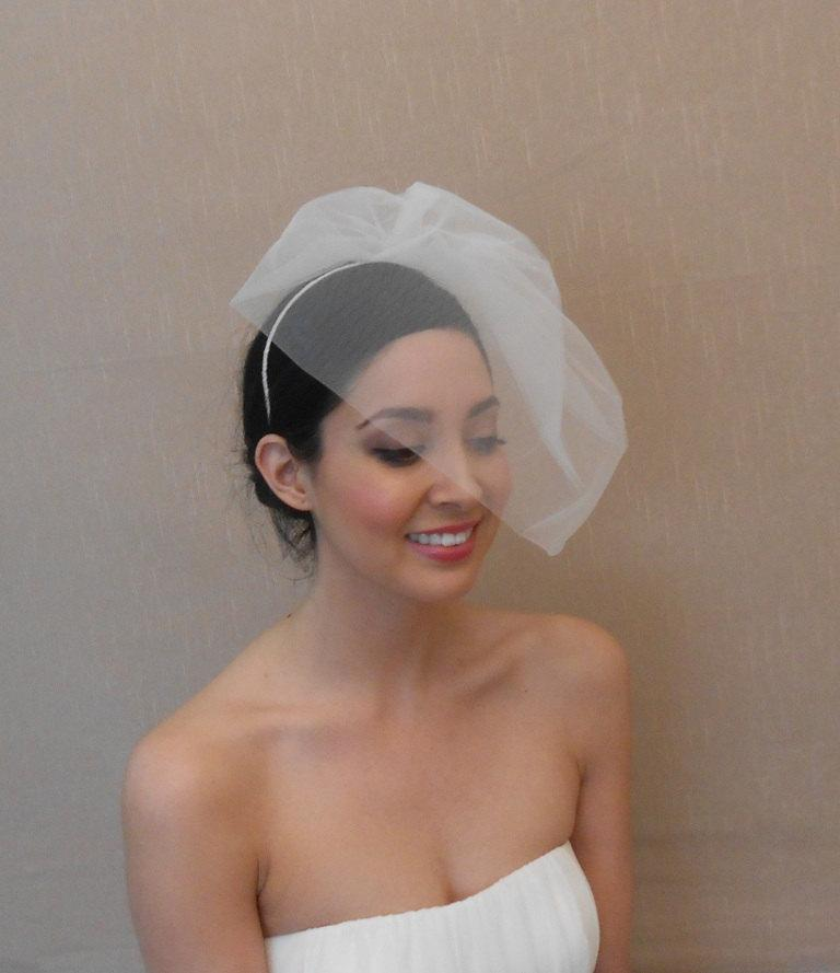 Bridal folded double layer tulle birdcage veil attached to satin covered  headband in ivory or white - Ready to ship in 1 week 1771fc61618
