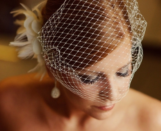 Mariage - White Bridal Russian Netting Blusher Birdcage Veil